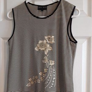 Black and White Stripped Top with Beaded Flower